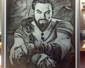 Khal Drogo Game of Thrones Black Glass Etching