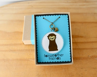 Otter Necklace - Animal Charm, Cute Otter Pendant, Acrylic Necklace, Sea Otter Jewelry, Laser Cut Charm, Animal Lovers, River Otter Charm