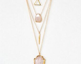 Layered Necklace Set - Set of 4 - Arrowhead Necklace - Layering Necklaces - Gold Necklace - Layering Set - Rose Quartz Boho Chic - Statement