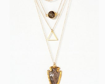 Layered Necklace Set - Set of 4 - Arrowhead Necklace - Layering Necklaces - Gold Necklace - Layering Set - Boho Chic Jewelry - Statement