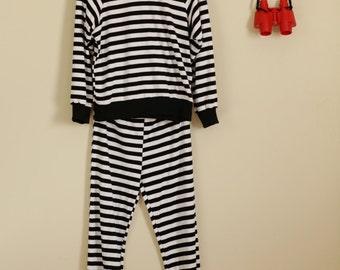 Black and White Striped Winter Pajamas  Top 90s 70s 60s Cute Retro Pin Up Jailhouse Rock