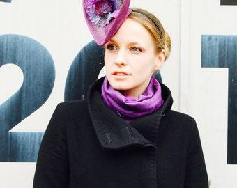 Purple Thistle Harris Tweed statement cocktail hat fascinator