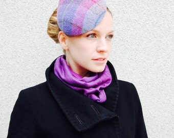 Purple Teardrop Harris Tweed Checked Modern Cocktail Hat