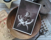 Antique french card photography little child on a chair 1920s