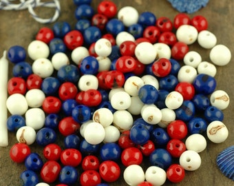 Red, White & Blue Acai Beads Mix: Real, Natural South American Eco- Friendly, 10mm, 100 beads, 4th of July Summer Jewelry Making Supply