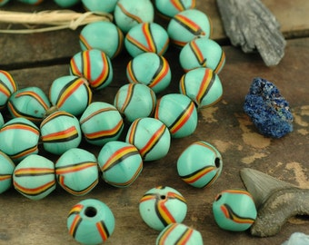 Turquoise Blue Striped King Beads from Ghana, 17x15mm, 6 beads, Tropical Blue Rare African, Nautical Tribal Craft, Jewelry Making Supplies