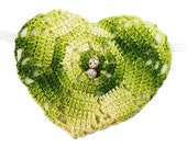 Heart Shaped Eye Patch Woven Green Victorian Steampunk Fantasy Buccaneer Pirate Fashion