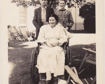 Mother's Wheelchair- 1940s Vintage Photograph- One Legged Woman- Family Snapshot- Amputee Photo- Paper Ephemera
