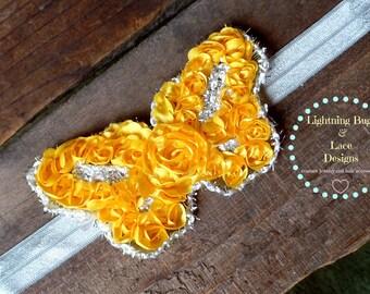 Girls Yellow Shimmer Rosette Butterfly Elastic Headband