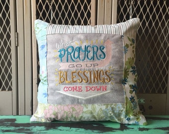 Sampler Chalkboard Style Pillow When Prayers Go Up Blessings Come Down