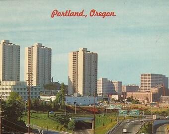 Vintage Oregon Postcard Downtown Portland 1960s