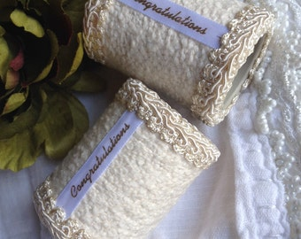 Ivory Congratulations Napkin Rings Cream Handcrafted Wedding Anniversary Housewarming Hand Crafted - #26