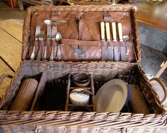 VINTAGE PICNIC BASKET Brooks Brothers Trunk Art Deco Era Rattan Case Leather Lining Utensils Glasses Plates Decanters American 1920's