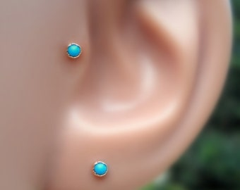 Tragus Earring - Cartilage Earring - Nose Ring - 14K Rose Gold Filled  2 mm Turquoise Tragus Stud - Tragus Piercing