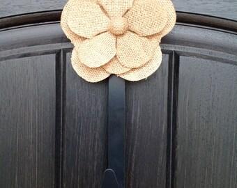 Wreath Door Hanger Clip Accessory - Removable - Ornament - Burlap Flower Accent