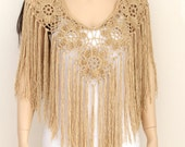 Bridal shawl Crocheted Shawl Wedding Wrap Bridal Accessories Wedding Shawls Beige tan cape