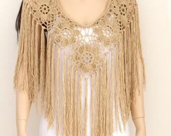 Handmade Poncho, Beige tan poncho cape, Bridal shawl crochet shawl wedding wrap bridal accessories wedding shawls