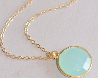 Sea Mint Green Chalcedony Necklace,Gemstone Layering Necklace,Mint Blue Green Gemstone Pendant,Gold Bezeled,14K Gold Filled,Gift For Her