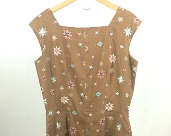 1960s Brown Shift Dress Geometric Print Womens Small