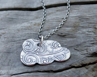 Silver Lining, Fine Silver Cloud with Botanical Curl Pattern Pendant Necklace in .999 PMC with Sterling Silver Chain.