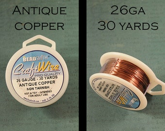 26ga Antique Copper Craft Wire - Non Tarnish - from Bead Smith - 30 Yards