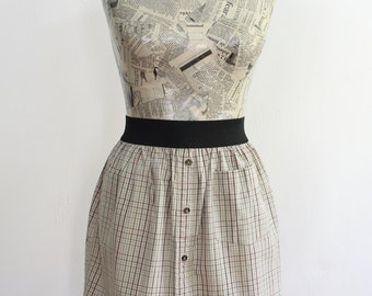 Tan, Green, and Brown Plaid Upcycled Cotton Skirt with Elastic Waistband, size Small