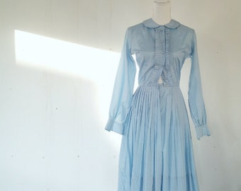 1960s Pastel Blue Cotton Lolita Day Dress 60s Vintage Small Peter Pan Collar Full Pleated Skirt School Girl Mod Tuxedo Ruffle Dolly Dress