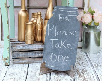 Chalkboard Sign Mason Jar Wedding Sign Chalkboard Wedding Doublesided Chalkboard Sign Wood Chalkboard Mason Jar Centerpiece