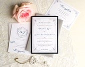 "Navy Monogram Wedding Invitations, Modern Wedding Invitations, Elegant Invitations, Silver & Navy Wedding  - ""Classic Love"" Sample"
