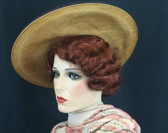 Vintage 1930s Straw Hat with Panama Weave and Grosgrain Ribbon Trim