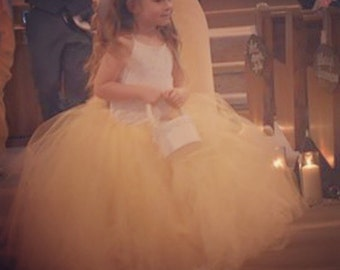 Gorgeous full and fluffy Baby Yellow Flower girl tutu
