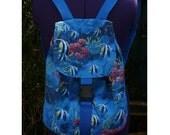aquarium blue reef angel fish backpack rucksack large   adjustable straps and click lock front UK seller