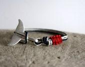whale tail bracelet,nautical bracelet,sailing jewelry,paracord bracelet,fish tail bracelet,sailrope bracelet,gift for men