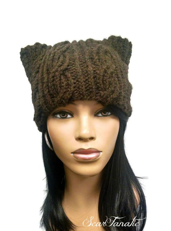 Pattern only hand knit cabled cat ears beanie hat super easy - Free cat hat knitting pattern ...