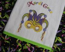 "Handmade embroidered ""Mardi Gras Towel"""