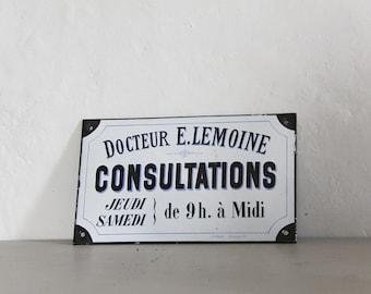 Antique French Enamel Sign Of a Doctor, Porcelain Sign