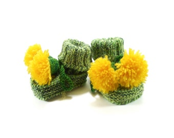 Baby Booties, Knitted Newborn Booties, Knit Baby Shoes, Cute Baby Gift, Handmade Infant Booties, Green and Yellow Dandelions, 0 - 3 months