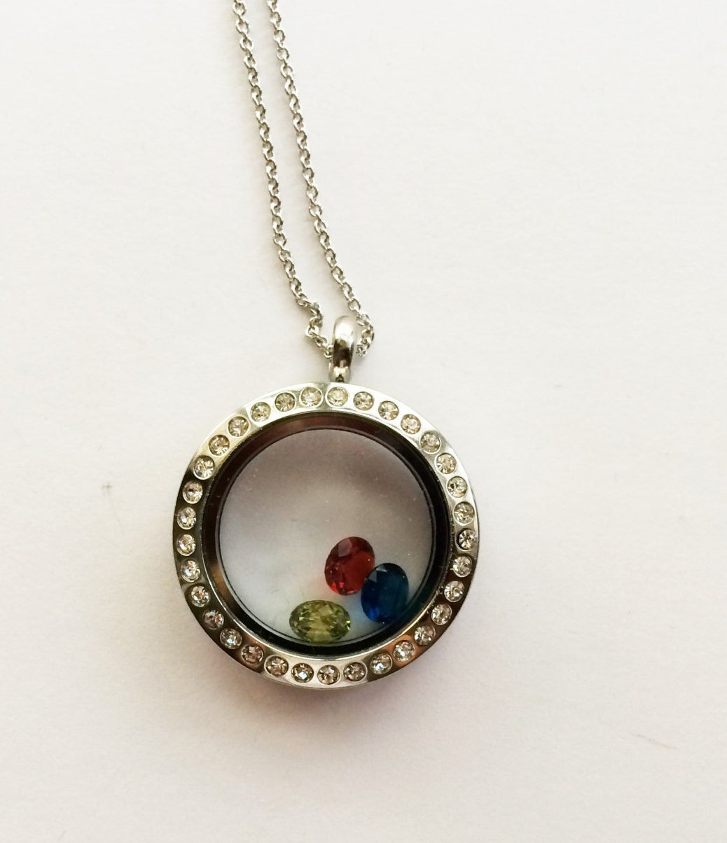 Birthstone locket necklace floating birthstones for Grandmother jewelry you can add to