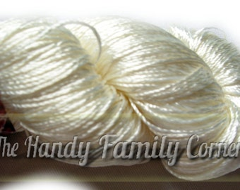 "Viscose Silk Yarn: Shining, Superfine / Lace weight, bright crochet yarn, color milk, ivory, off white. Yarn ""ajur"". Col. 31"