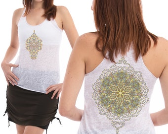 White Burnout Tank Top Women Sheer Tank Top Psychedelic Peyote Mandala Silk Screen Print Psytrance Clothing