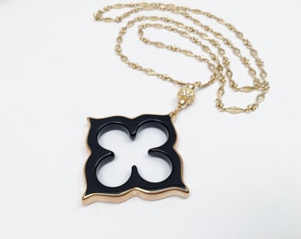 Black Agate Clover and Gold Chain Necklace with Rhinestone Bead