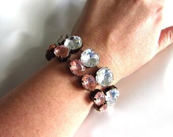 Blush Pink Crystal Bracelet, Stacking Bracelets, Layering Bracelet, Crystal Bracelet, Vintage Pink Bracelet, Pink Diamond Bracelet, Tennis