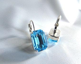 Aquamarine Crystal Earrings, Aqua Earring, Light Blue Earring Aqua Crystal Earring, Blue Bridesmaid Earring Something Blue Wedding Earring,