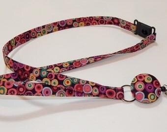 Retractable Badge Reel Breakaway Lanyard - Fabric Retractable Reel Lanyard - Fabric Id Badge Holder - Gold And Off White