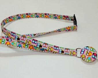 Lanyard Fabric Lanyard with Retractable Badge Reel - ID Badge Holder - Pink Cute Owls