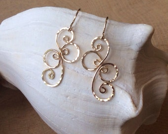 Fancy Spiral Earrings 14k Gold-filled