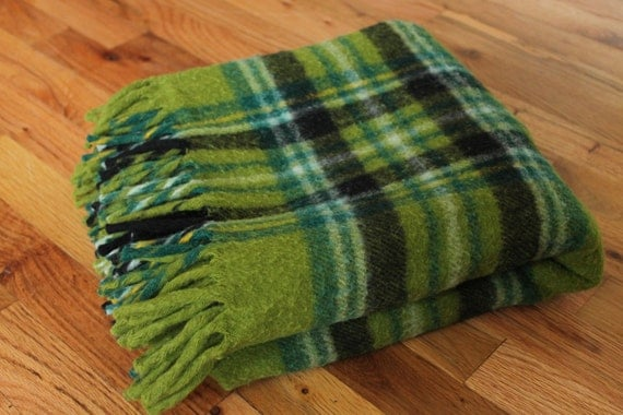 Green Plaid Wool Stadium Picnic Blanket By Meggyleves On Etsy