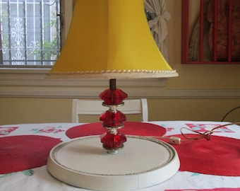 Art Deco Vintage Red Glass Lamp / 40s Lamp Attached To Tray / 2 Shade Options