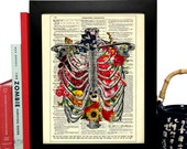 Rib Cage With Flowers, Home, Kitchen, Nursery, Bath, Office Decor, Wedding Gift, Eco Friendly Book Art, Vintage Dictionary Print, 8 x 10 in.