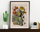 Decorative Art, Flowers on Skull ,Nature Inspired Print, Wall hanging Skull print, Art flowers and anatomy BPSK094
